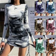2021 Summer Sexy Knitted Slim Tie-dye Printed Dress Women Casual Slim Long-sleeved Pleated Dress Women