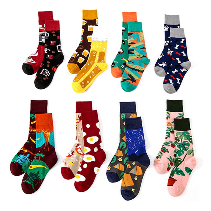 Fashion Cartoon Trend Mid Tube Cotton Socks Asymmetric AB Hip Hop Funny Street Happy Socks Women Harajuku Unisex