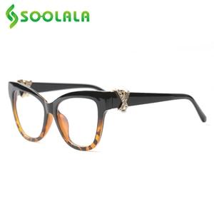 Image 4 - SOOLALA Cat okulary do czytania kobiety z skrzyżowanymi Rhinestone duże oprawki do okularów Lesebrille Reader okulary na receptę 0.5 do 4.0