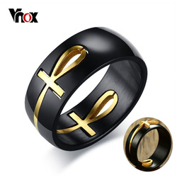 Vnox Men's Two Tones Removable Ankh Egyptian Cross Ring Stainless Steel Detachable Allah Male Religious Jewelry