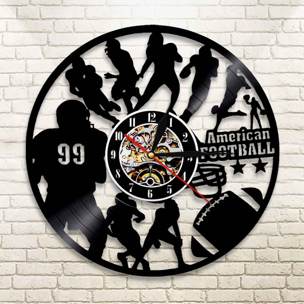 American Football Team NFL Vinyl Record Nightlight Clock Rugby Sportsmen Wall Art Decorative Game Sport Player Boys Gift image