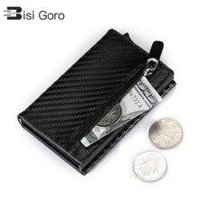 BISI GORO Credit Card Holder 2019 New Aluminum Box Wallet RFID PU Leather Pop Up Case Magnet Carbon Fiber Coin Purse