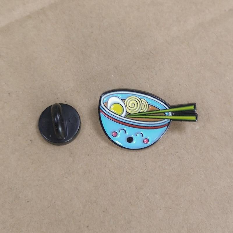 创意新款日系鸡蛋 面条蓝碗滴油胸针牛仔徽章4