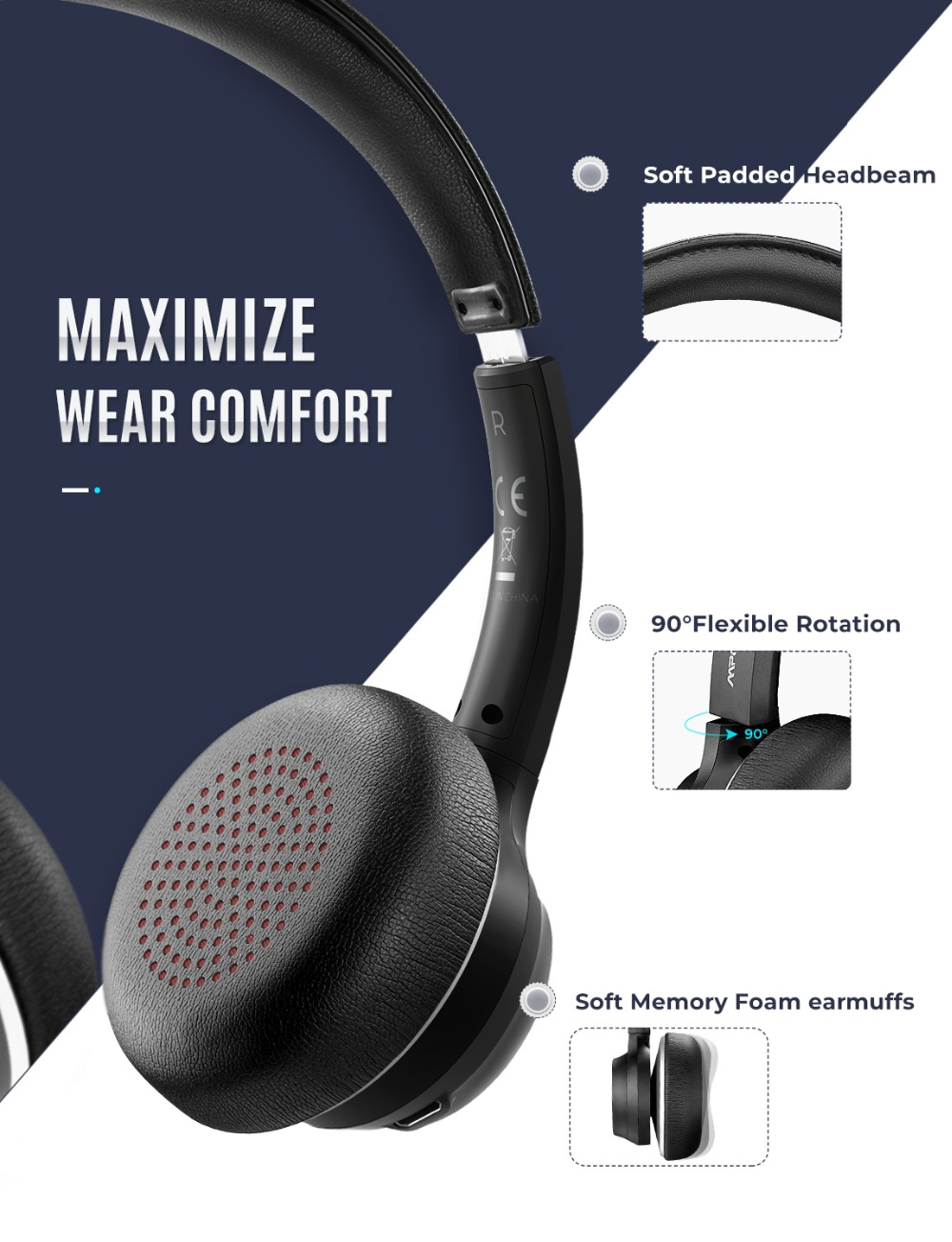 Mpow HC5 Wireless Headphones Bluetooth 5.0 Headset With CVC8.0 Noise Cancelling Microphpne Mute Control Button For PC Computer (3)