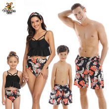 Beach Family Swimwear Printed Matching Swimsuit Mother Daughter Bikini Dad Son Swim Trunks Clothes Outfits Look