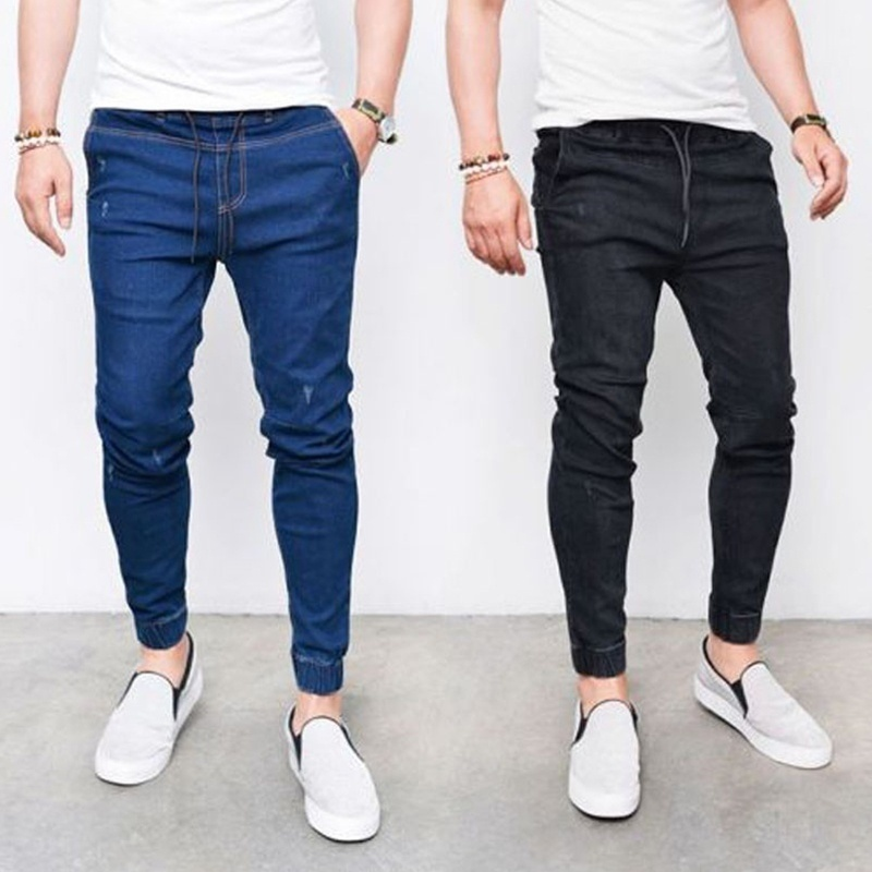 ZOGAA Mens Jeans Pants 2019 Fashion Casual Slim Fit Pencil Pants Straight Stretch Feet Skinny Drawstring Jeans Hot Sell Trousers