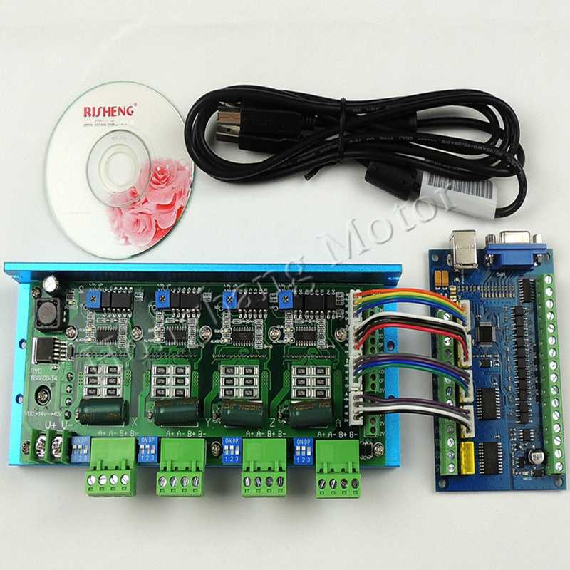 MACH3 USB CNC 5 Axis 100KHz Smooth Stepper Motion Control card breakout board+TB6600 4 Axis 4.5A Stepper Motor Driver board