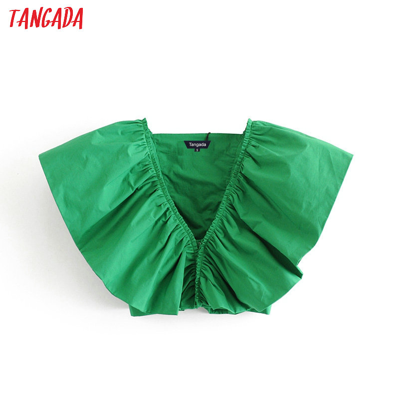 Tangada Women Retro Big Ruffles Green Blouse Sleeveless Chic Female Sexy V Neck Shirt Blusas Femininas 3H258