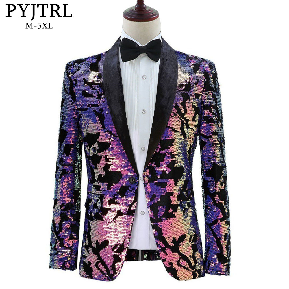 PYJTRL Men Plus Size Purple Green Blue Sequins Velvet Blazer Night Club DJ Singer Shiny Paillette Suit Jacket Prom Dress Costume
