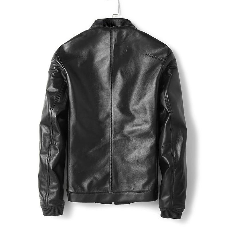 2020 New Genuine Leather Men Spring Autumn Real Sheepskin Coat Bomber Jacket Mens Clothing Chaqueta MG-02-B6212 KJ1948