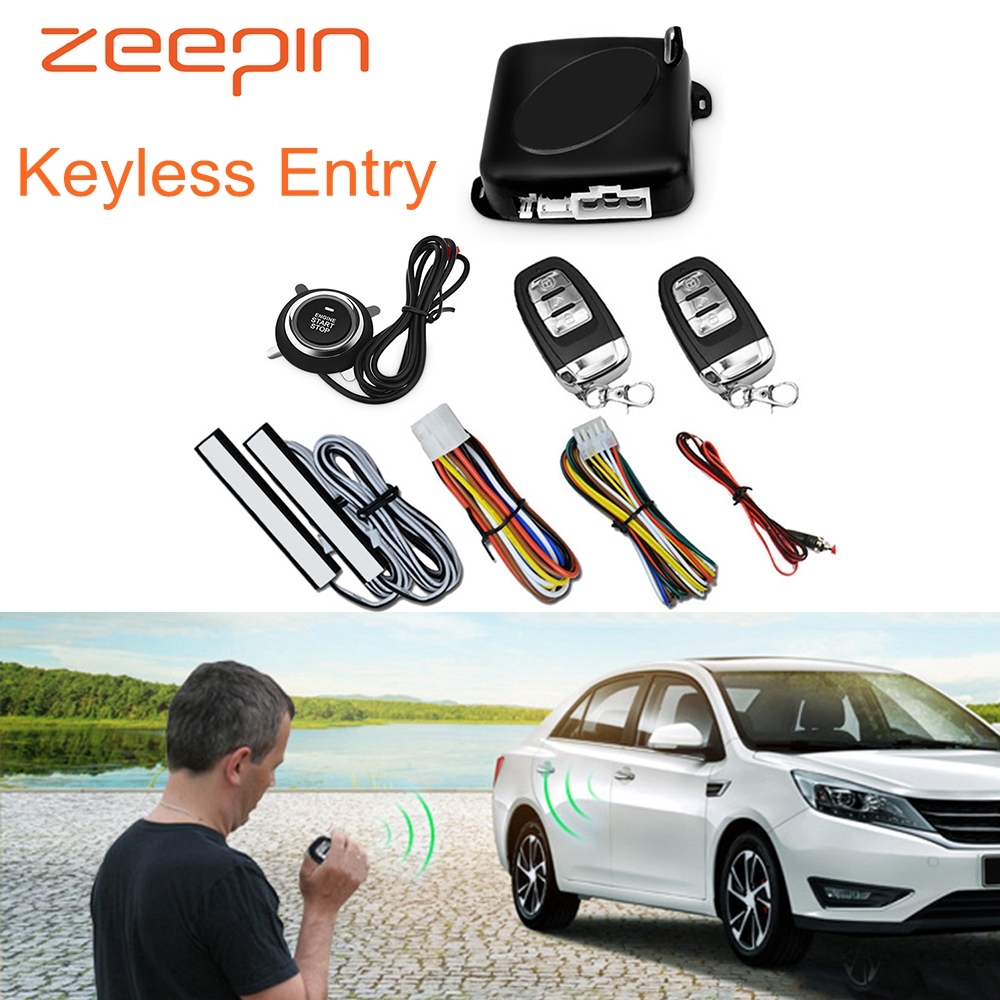 Car Keyless Entry Start Stop Button Anti-Theft Device Two-Way PKE Car Alarm System Engine Push Starter Door Lock Remote Control