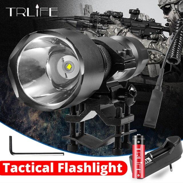 Linterna LED C8 de 4000LM, foco táctico T6 L2 18650, luz de caza de aluminio, superluces de lanzamiento largo, 5 modos para Rifle