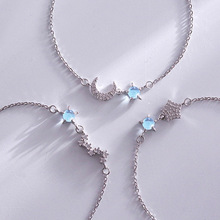 Creative Style Silver Color Big Dipper Moon Star Bracelet 925 Inlaid Blue Zircon  For Women Girlfriend Fashion jewelry