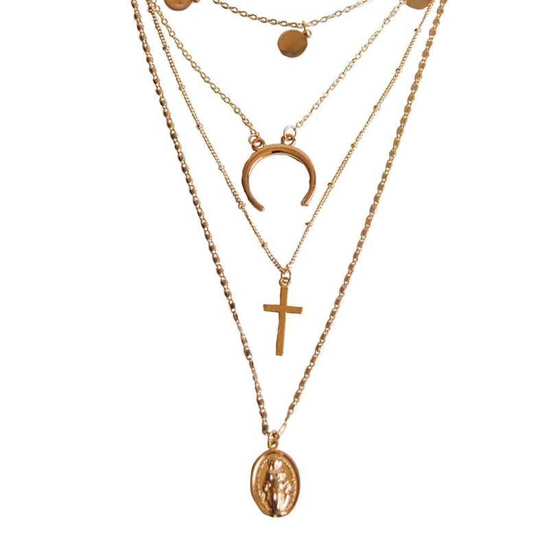 Avrupa Vintage Kişilik Yeni Çapraz Ay Kolye Bayanlar Çok Katmanlı Kolye Altın Zincir Uzun Tanrı'nın annesi Kolye Gerdanlık