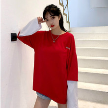 Harajuku Women Long T Shirt Solid Colored Patchwork Long Sleeve T-shirt Spring Autumn Tee Casual Pullover Basic Tops C342 недорого