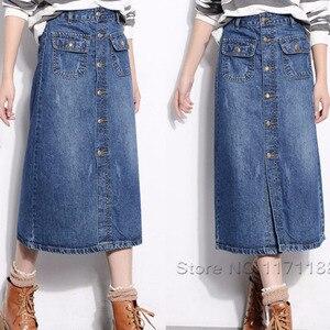 Image 2 - גבוהה מותן בתוספת גודל כפתור עד ארוך ג ינס ישר חצאית 16 18 20 4Xl 5Xl 6Xl 7Xl אור לשטוף כחול ג ינס חצאיות עם כיסים