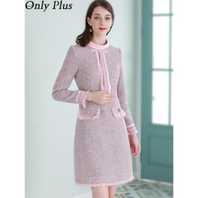 Only Plus Women Pink Tweed Dress Winter Sweet Woolen Stripe Dresses Female Elega