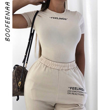 BOOFEENAA White Knit Embroidery Letter Short Sleeve Bodysuits Women Clothes Spri