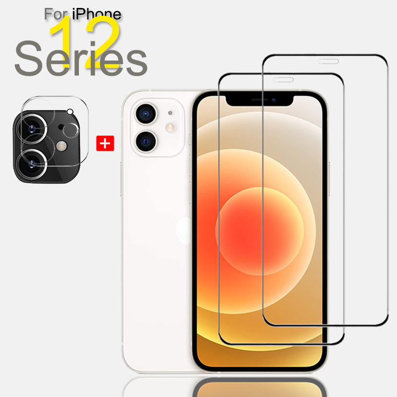 """Protective Glass & Camera Protector For iPhone 12 Pro Max Screen Protector iPhone-12-Mini-5.4"""" iPhone-12-Pro-6.1"""" Tempered Glass"""