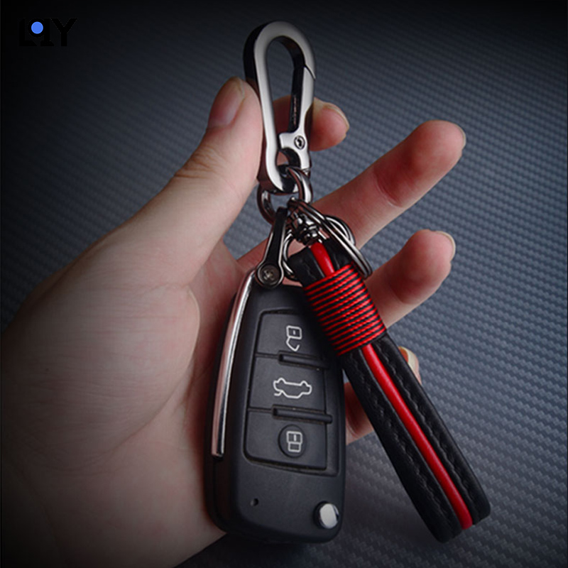 1pc new black blue red car Key case Keychain Leather Home Key Ring Waist for Toyota Honda Lexus Mazda Volvo Auto Accessories in Key Case for Car from Automobiles Motorcycles