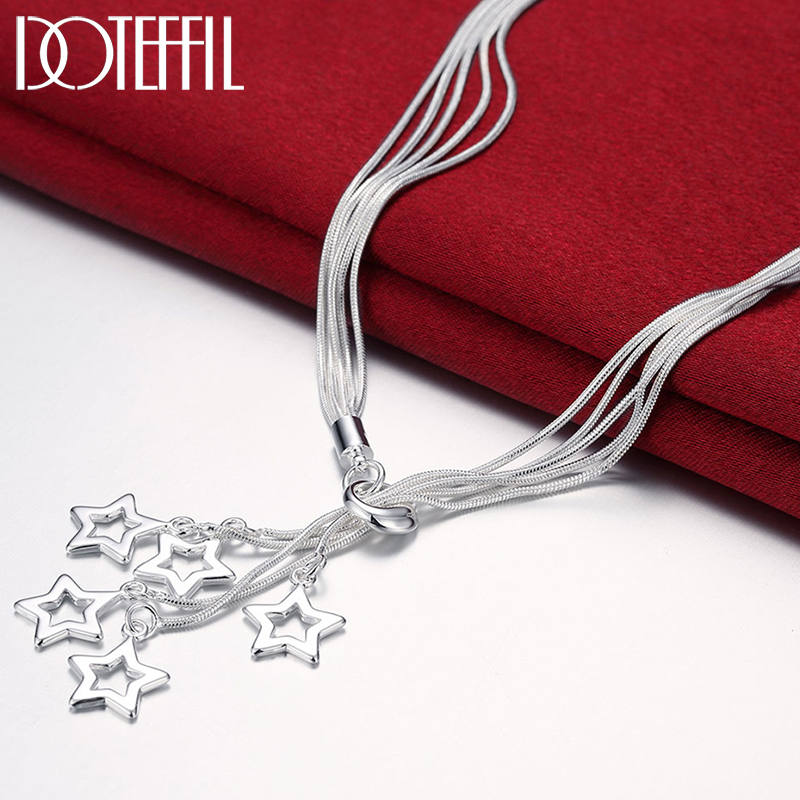 DOTEFFIL 925 Sterling Silver Five Snake Chain Star Pendant Necklace For Women Charm Wedding Engagement Fashion Jewelry