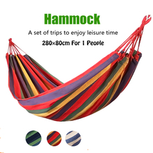 Portable Hammock Outdoor Hammock Garden Sports Home Travel Camping Swing Canvas Stripe Hang Bed Hammock Red, Blue 280 x 80cm acehmks travel camping hammock swing portable outdoor ramak garden hang bed hamac for camp canvas hammock with 2 tree ropes red