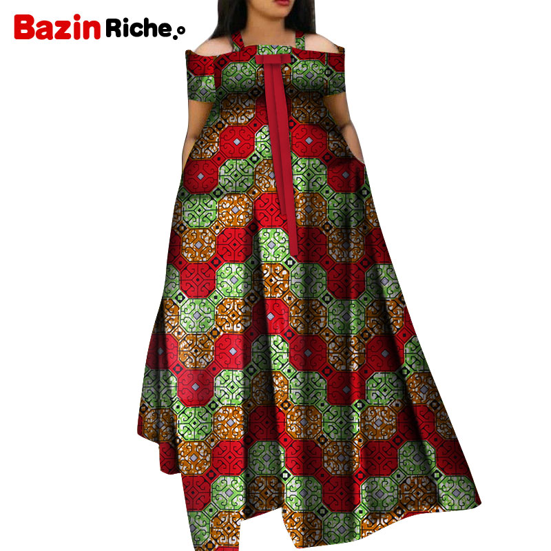 WY5271 Summer African Dresses For Women 2020 New Fashion Robe Long Dress Print Bazin Vestidos Dashiki Party African Clothes