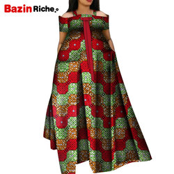 Zomer Afrikaanse Jurken Voor Vrouwen 2019 Nieuwe Mode Robe Lange Jurk Print Bazin Vestidos Dashiki Party Afrikaanse Kleding WY5271