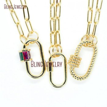 Gold Filled Chain Necklace Baguette Oval Lock Necklace Carabiner Lock Necklace Lock Screw Clasp Necklace NM29543