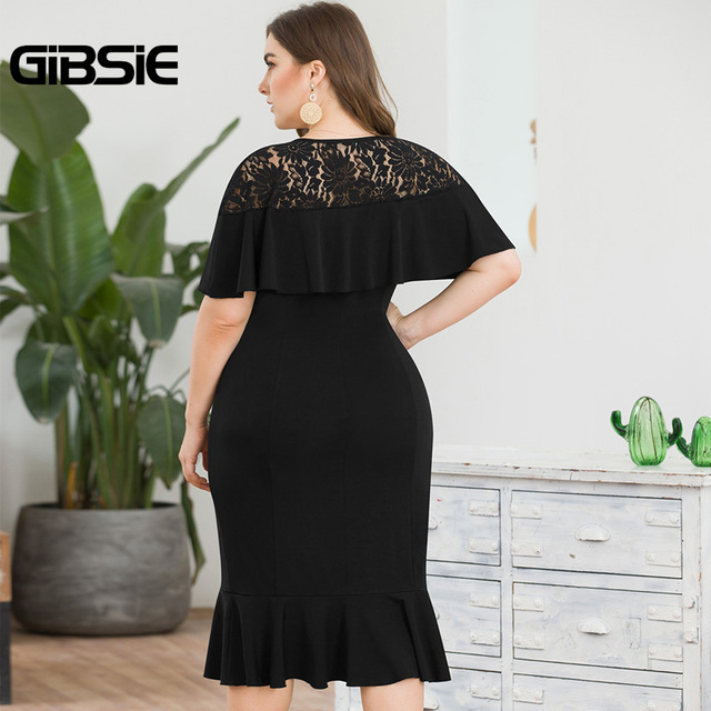 GIBSIE Plus Size Elegant Lace Patchwork Ruffle Party Bodycon Dress Women Summer Wear To Work Knee Length Sheath Mermaid Dress 2