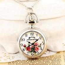 New Fashion Men and Women Pocket Watch Quartz StainlessSteel Steampunk Print Free Shipping RelogioMasculino