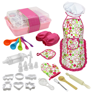 DIY 18 Pcs Chef Role Play Set with Dress up Costume and Kitchen Accessories Kids Pretend Play Toy Set Cookies Toys For baby girl(China)