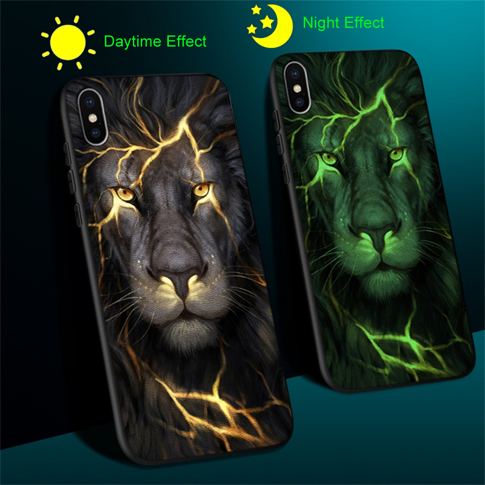Phone <font><b>Case</b></font> For <font><b>iPhone</b></font> 5 5s SE <font><b>6</b></font> 6S 7 8 Plus <font><b>Case</b></font> Leather Luxury <font><b>Luminous</b></font> Light Glowing Back Cover Funda Coque Protective Bumper image