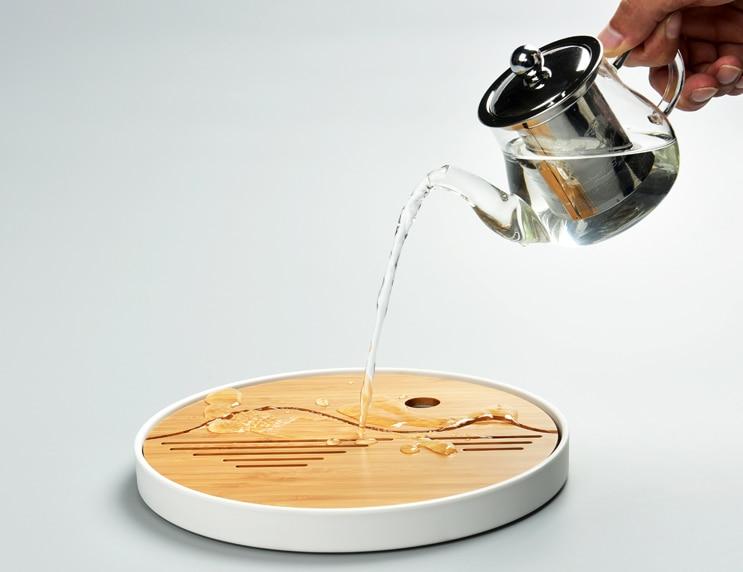 المحمولة الميلامين الصينية الكونغ فو طقم شاي اكسسوارات السفر مصغرة الخيزران تخزين المياه طاولة شاي غرفة الشاي حفل أدوات LF519