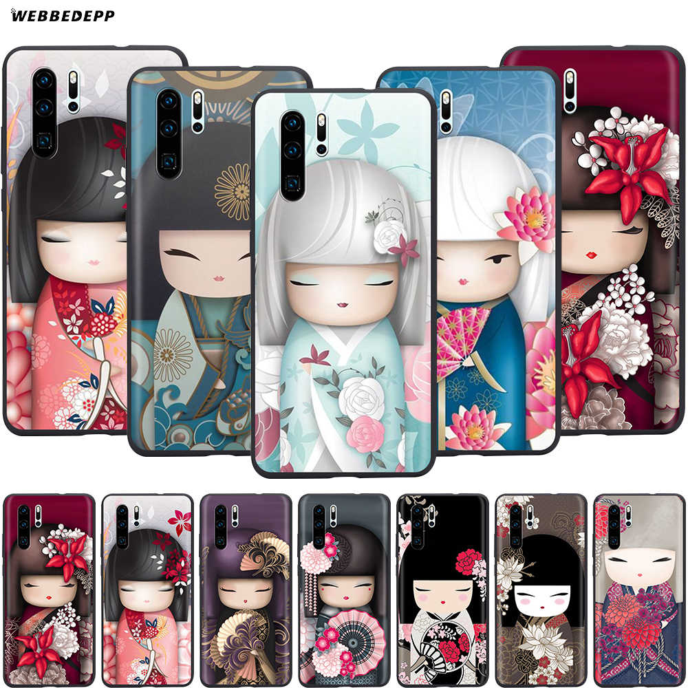 Webbedepp moda japonesa Kokeshi para Huawei P8 P9 P10 P20 P30 Lite Pro P Smart Z 2019 Mini 2019