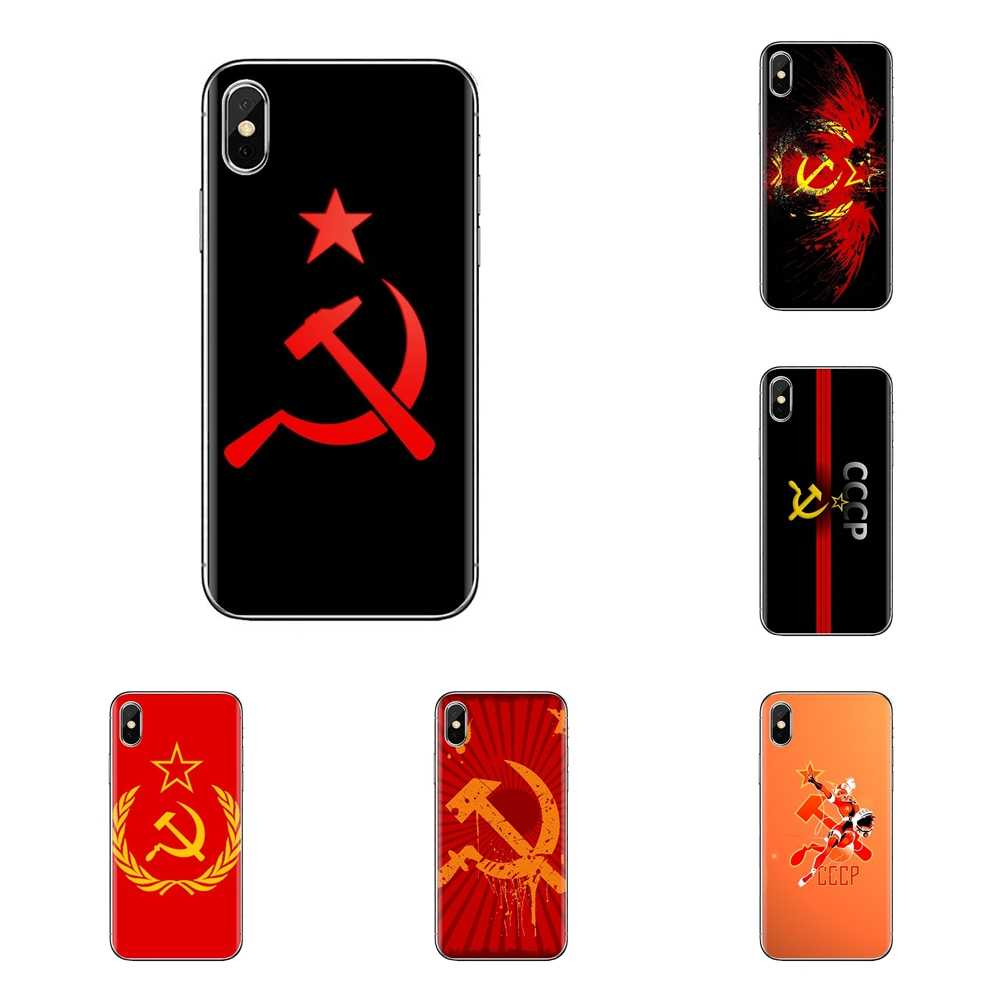 Voor iPod Touch Apple iPhone 4 4S 5 5S SE 5C 6 6S 7 8 X XR XS Plus MAX Zachte Transparante Gevallen Covers rusland sovjet emblem cccp