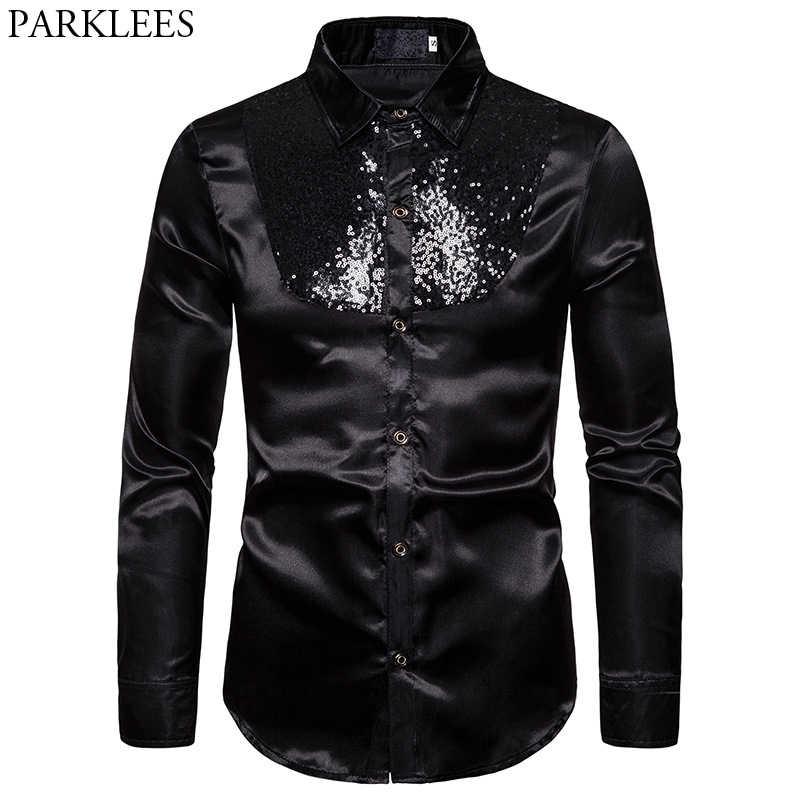 Czarny cekin błyskotka jedwabna koszula mężczyźni 2019 marka Patchwork projekt Slim Fit koszule męskie klub nocny Disco Party Prom halka