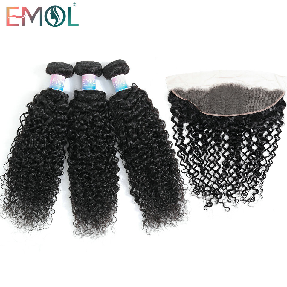 EMOL Kinky Curly Hair Bundles With Closure Frontal 13*4 Peruvian Hair Bundles Non-Remy Human Hair Extensions