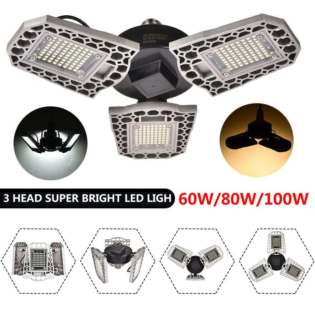 E27 LED Garage Ceiling Lights Waterproof 60w 80w 100w LED Trilights Deformation High Bay Lighting Industrial Lamp Workshop Light