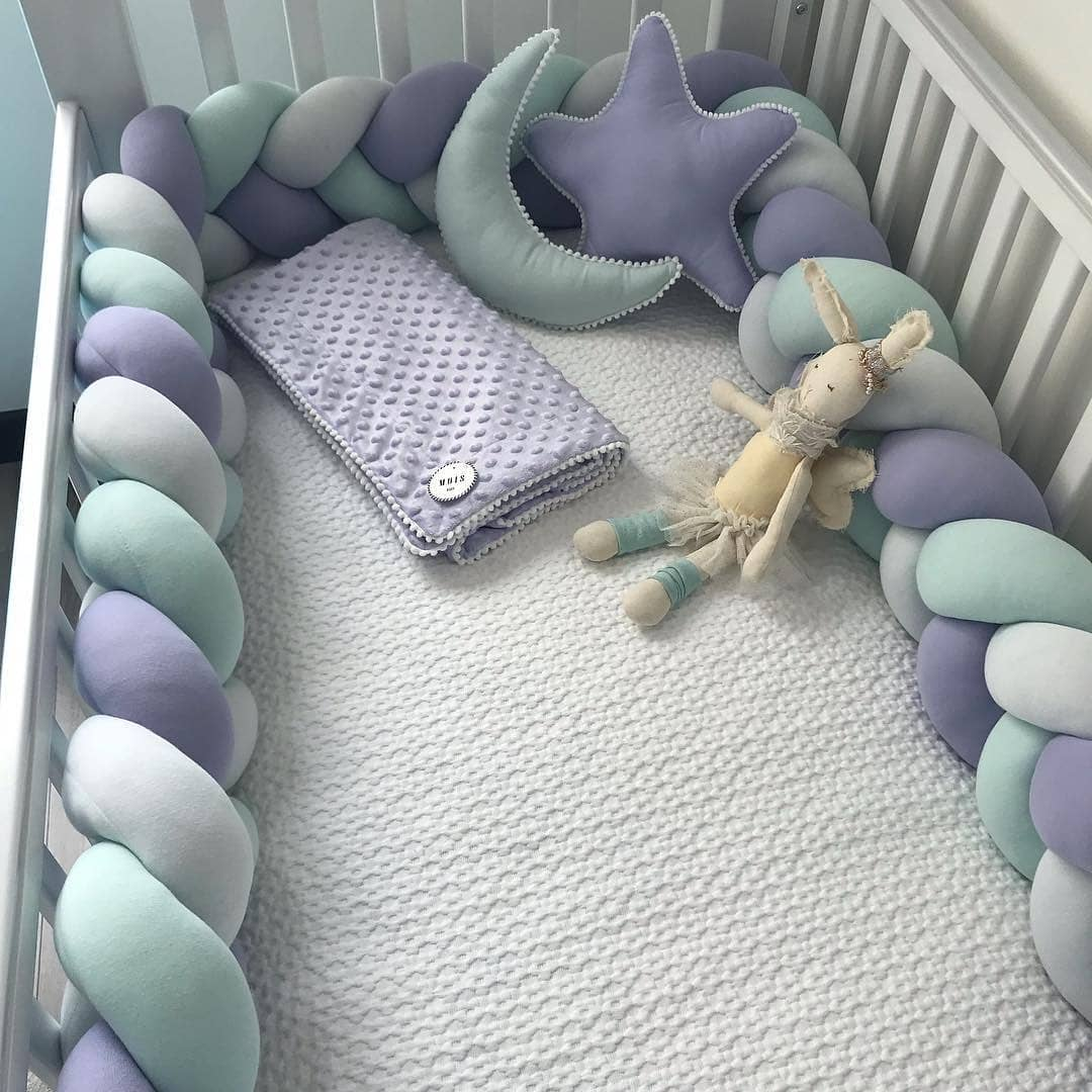 3 Meter Baby Bed Bumper Braid Knot Pillow Cushion Bumper For Infant Crib Protector Bumper Tour De Lit Bebe Tresse Room Decor