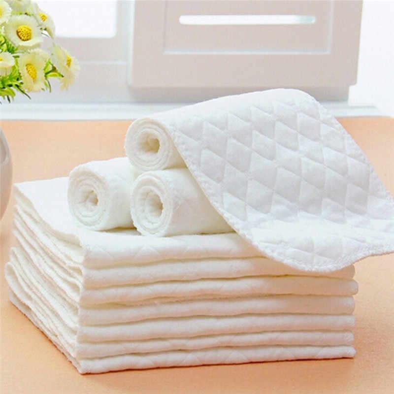 Nueva ropa de pañales de bebé reutilizable insertos de pañales 1 pieza inserción de 3 capas 100% de algodón lavable cuidado del bebé pañal ecológico 5 uds