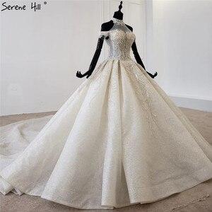 Image 3 - Champagne Halter sin mangas sexy vestido de novia 2020 con cordones de lujo lentejuelas vestido de novia HX0054 Cusotm hecho