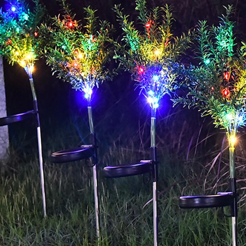 2 pack de energia solar luzes decorativas estacas do jardim 02