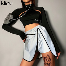 Kliou Sexy Women Cotton T Shirt Hollow out Tops Long Sleeve Sheer Slim Ladies Turtleneck T-Shirt Letter reflection New 2019