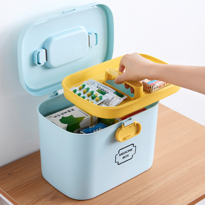 Household Portable Cute First Aid Top Case Double-Layer Medicine Box With Large Capacity Family Emergency Kit Storage Organizer