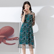 Printing Fold Medium length Pleated skirt 2019 New summer style Lady Any combination Skinny Dress