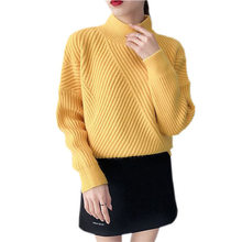 Women's Cropped Sweater Black Yellow Knitted Pullover Autumn Winter Long Sleeve Turtleneck O-Neck Knitwear Fashion Women Jumper(China)