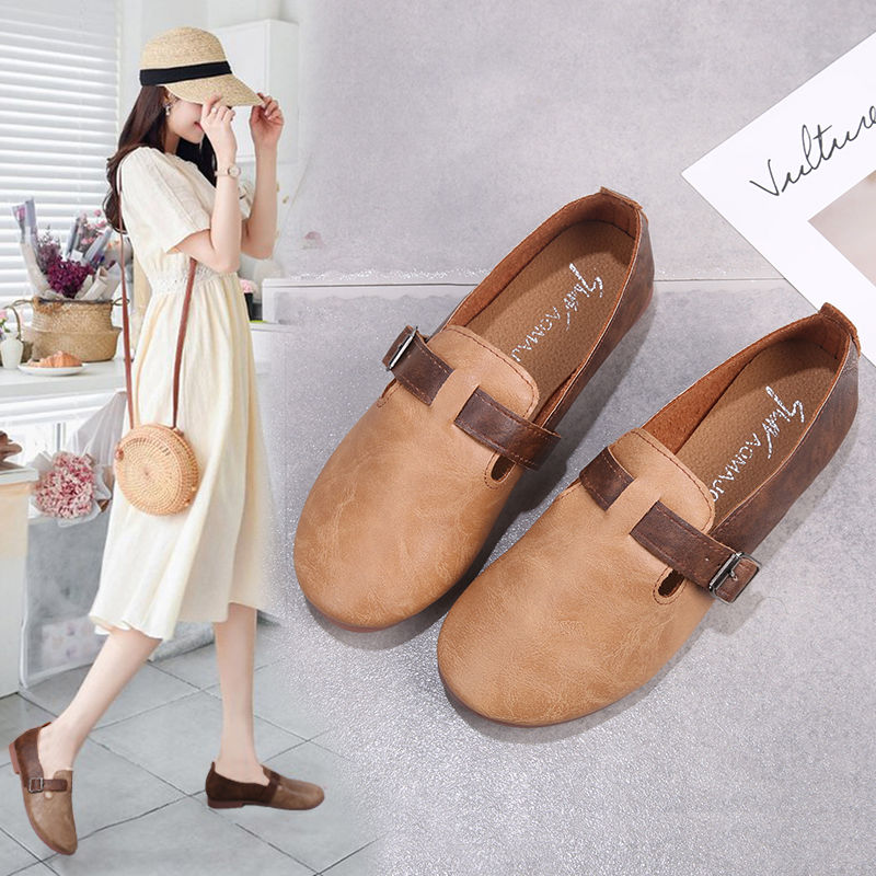 Girls Leather Shoes Women Spring Flats 2020 Fashion Retro Classic Style Women's Flats Sweet Shoes
