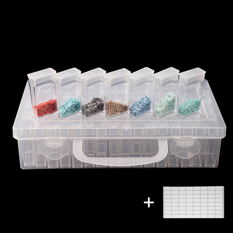 64pcs Plastic Diamond Painting Accessories with Bottles Container Storage Box Diamant Painting Holder Daimond painting Box title=