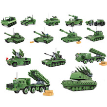 QWZ Army Tank Legoes Building Blocks Bricks Military Weapons Brinquedo Menina Toys For Childre Christmas Gift